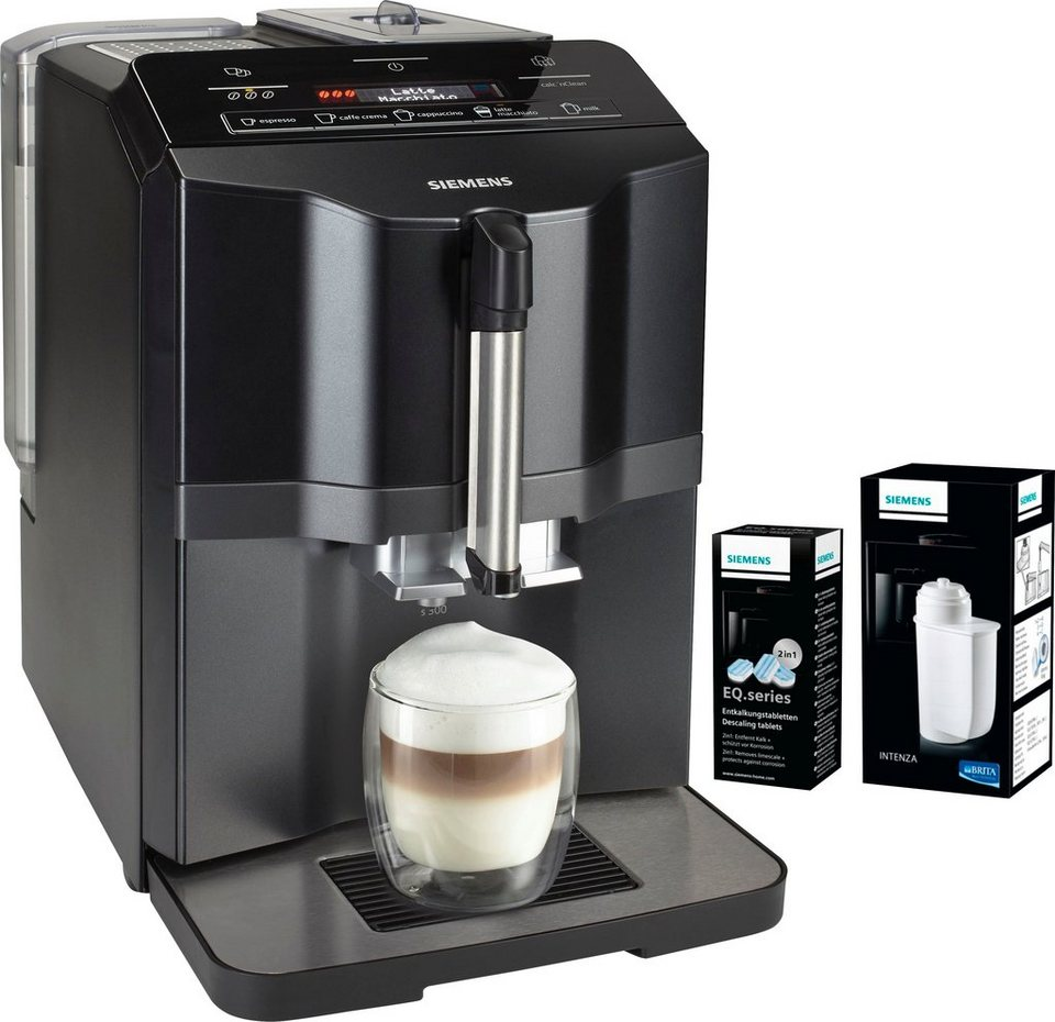Siemens Kaffeevollautomat EQ.3 s300 TI313519DE, inkl. 1 Packung Entkalker und 1 Brita Intenza Wasserfilter im Wert von UVP 26,98 in saphierschwarz