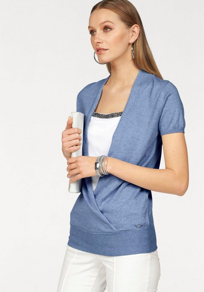 Bruno Banani 2-in-1-Pullover in Melange- Optik in hellblau