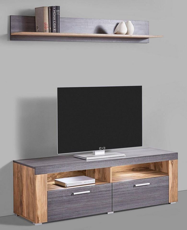 lowboard breite 140 cm mit wandregal kaufen otto. Black Bedroom Furniture Sets. Home Design Ideas
