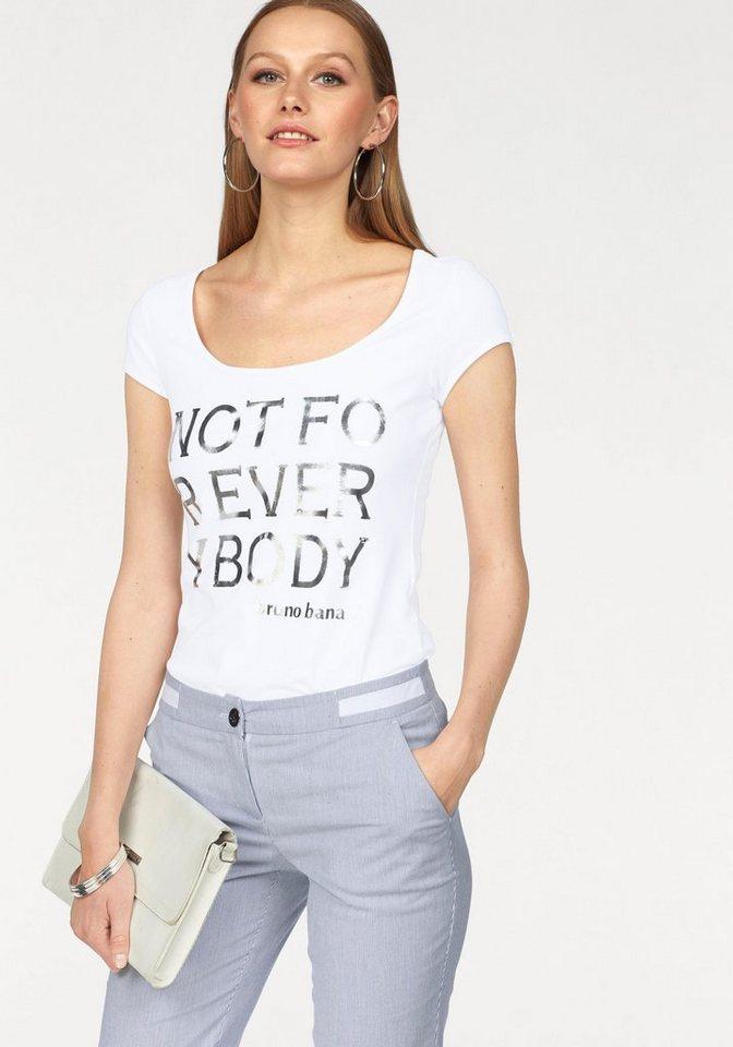 Bruno Banani T-Shirt mit Statement-Print in weiß-silberfarben