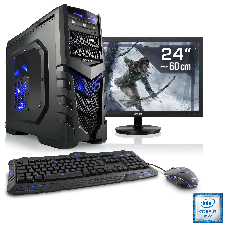 "CSL Gaming PC Set | i7-6700 | GeForce GTX 1060 | 16 GB RAM | 24"" TFT »Speed T7687 Windows 10 Home«"