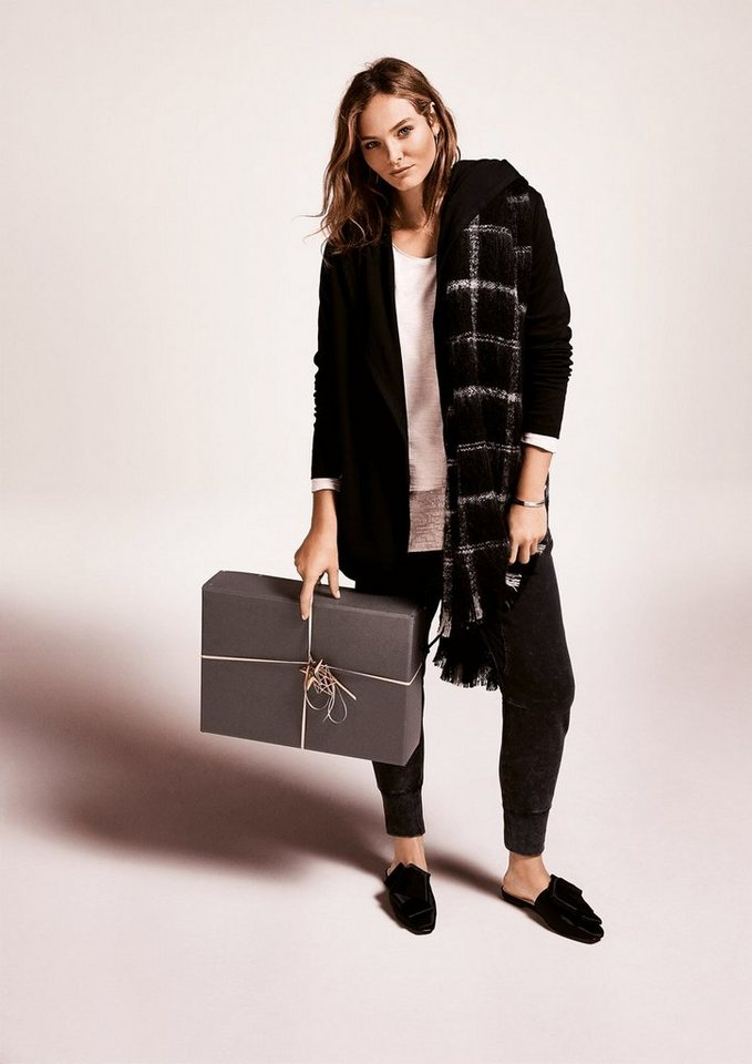 TRIANGLE XL-Schal mit Webmuster in grey/black check