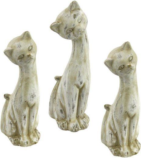 Home affaire Tierfigur »Antik-Keramikkatze«, (3er Set)