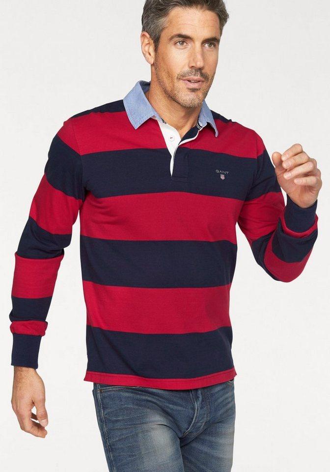 Gant Rugbyshirt in rot-marine-gestreift