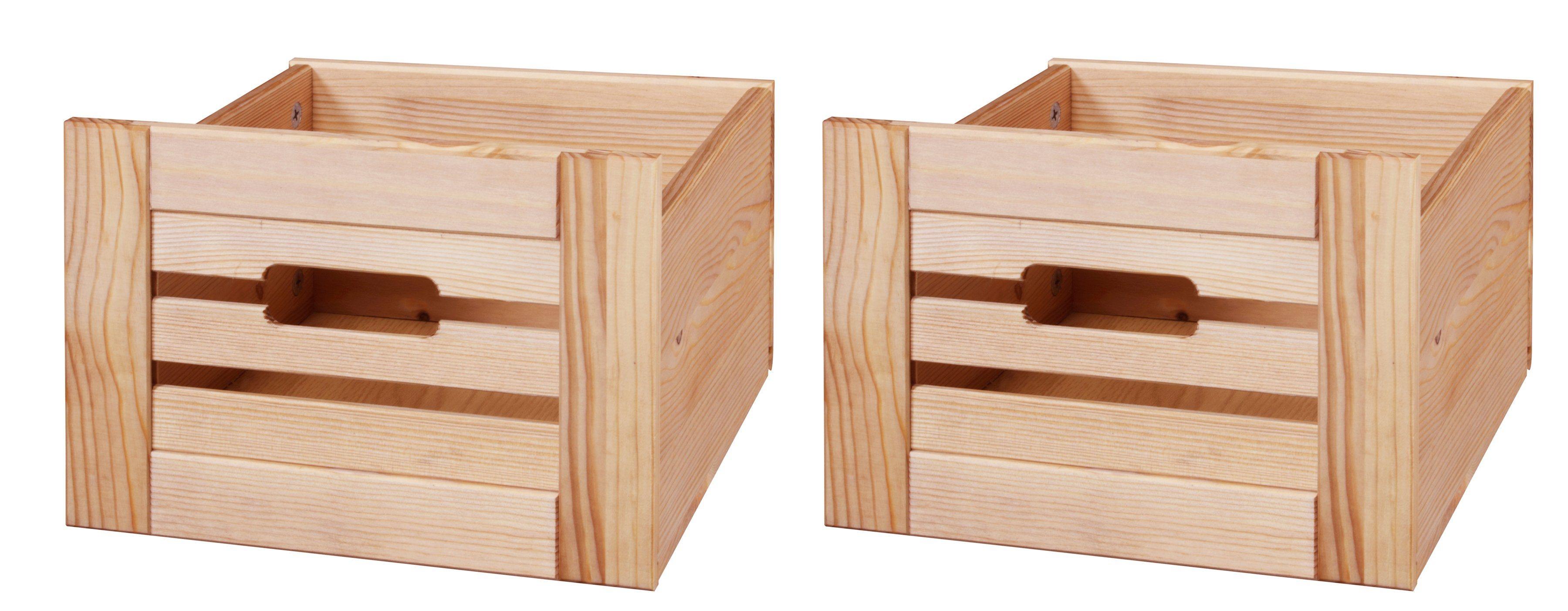 Set: Aufbewahrungsbox »Venezia Landhaus«, 2er-Set, Kiefernholz, B/T/H: 26 x 29,5 x 19,5 cm   Dekoration > Aufbewahrung und Ordnung > Kästchen   Farbig   Massivholz