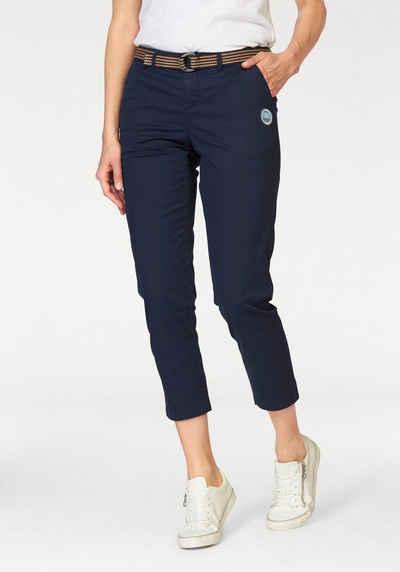 Stoffhose für Damen in Grau Hosen Weite Chino Stoffhose mit