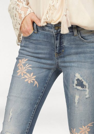 Laura Scott Destroyed-Jeans, mit Destroyed-Effekten und Stickerei