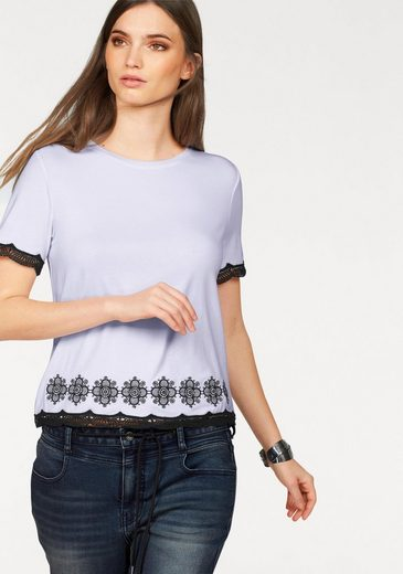 Laura Scott T-Shirt, mit Stickerei und Häkelbordüre