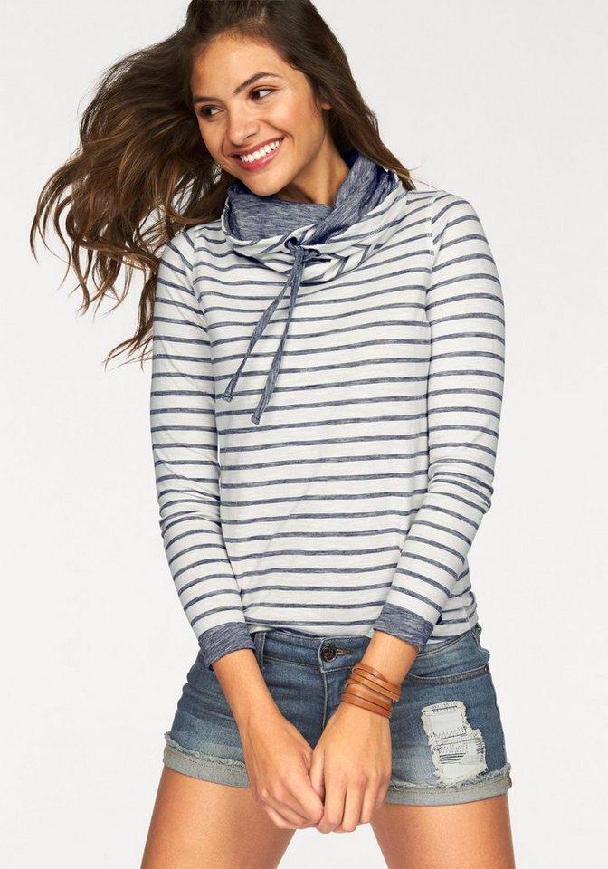 AJC Sweatshirt mit Streifen und Schalkragen in weiß-blau
