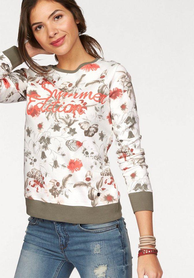 AJC Sweatshirt im Allover-Blumen-Druck in wollweiß-khaki-rot