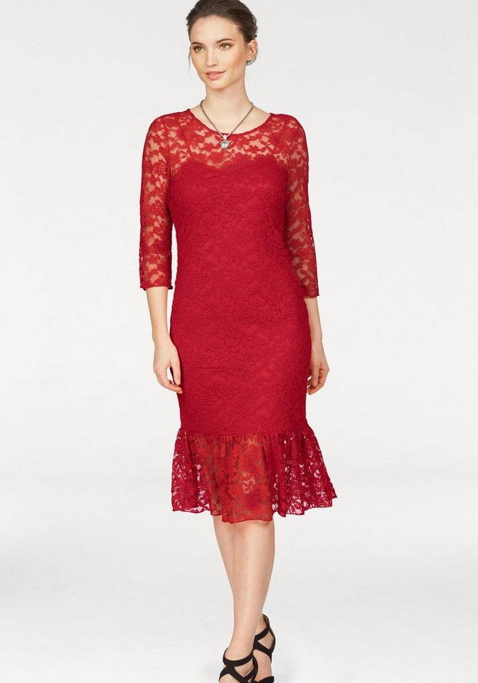 Laura Scott Spitzenkleid Body blickdicht unterlegt   Bekleidung > Kleider > Spitzenkleider   Rot   Laura Scott