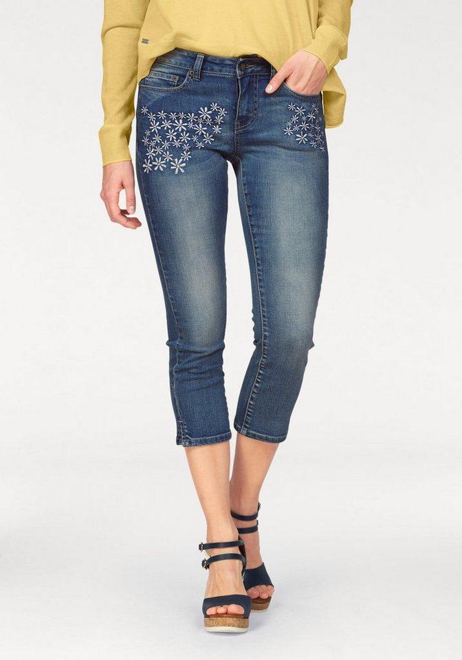 Laura Scott 3/4-Jeans mit aufwendiger Stickerei in blue-used