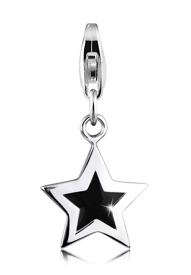 Elli Charm »Stern Astro Emaille schwarz 925 Silber« in Schwarz