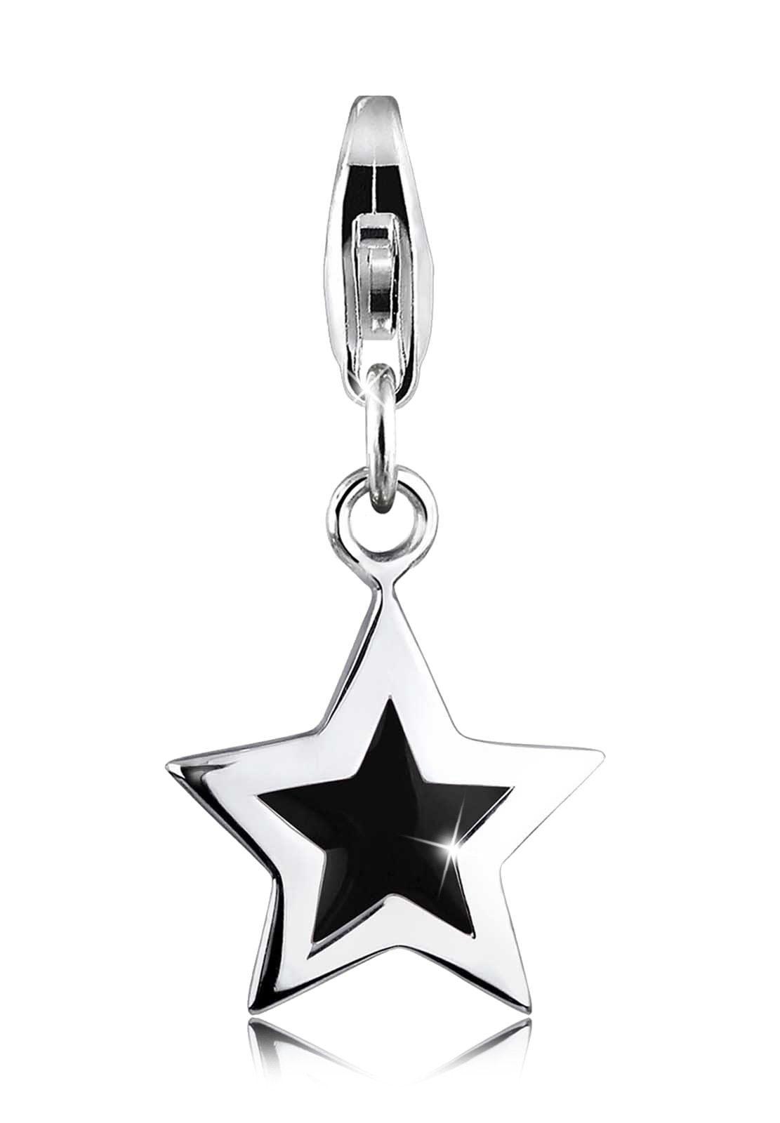 Elli Charm »Stern Astro Emaille schwarz 925 Silber«