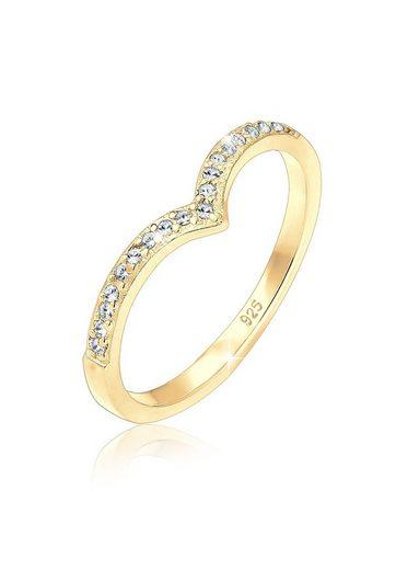Elli Ring »Geo V-Form Swarovski® Kristalle Silber vergoldet«