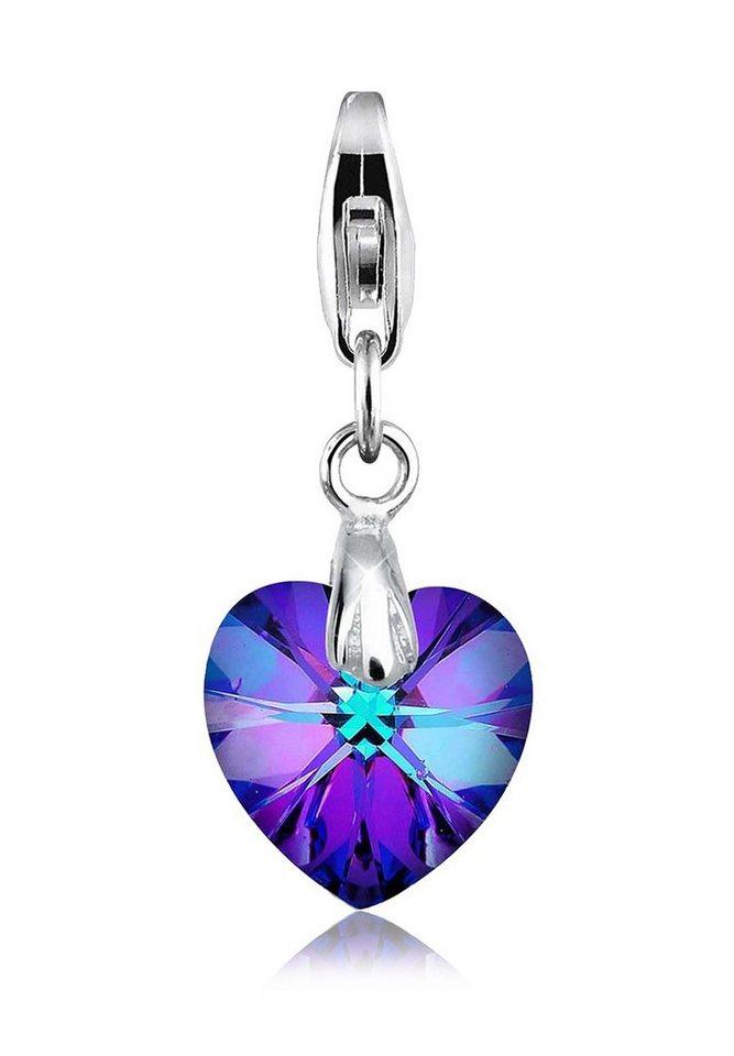 Elli Charm »Herz Liebe Swarovski® Kristalle 925 Silber« in Violett