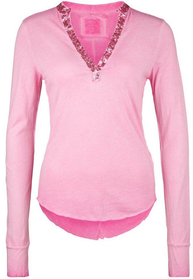 Better Rich Longsleeve »STANDUP LS POLO PAILLETTE« in pink
