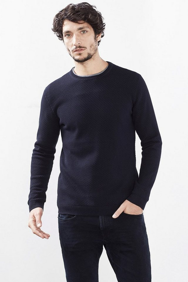 ESPRIT COLLECTION Pulli mit Wabenstruktur, 100% Baumwolle in NAVY