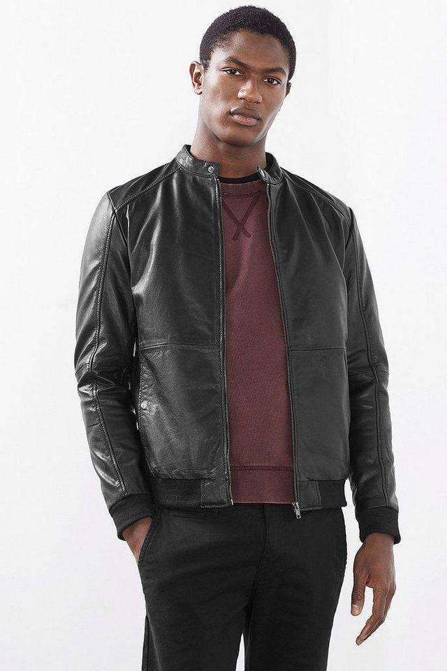 ESPRIT CASUAL Softe Ziegenleder Jacke im Bomber-Stil in BLACK