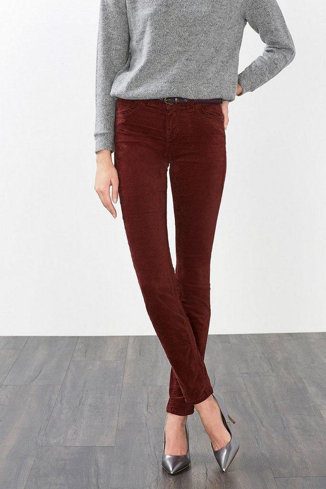 ESPRIT CASUAL Hose aus Baumwoll-Samt mit Stretch in BORDEAUX RED