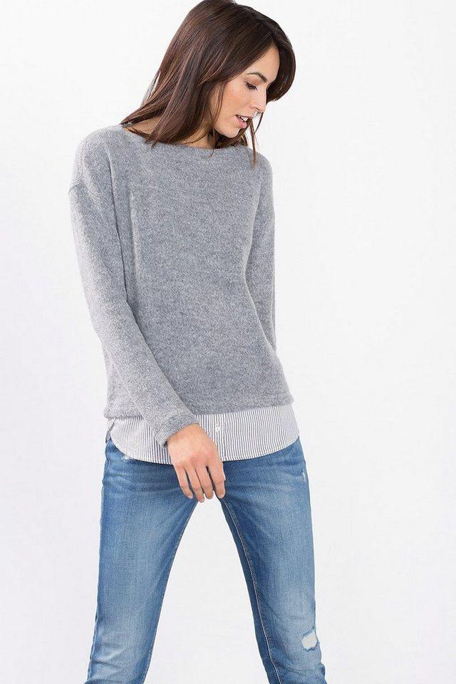 ESPRIT CASUAL Softer Stretch-Pulli im Layer-Look in MEDIUM GREY