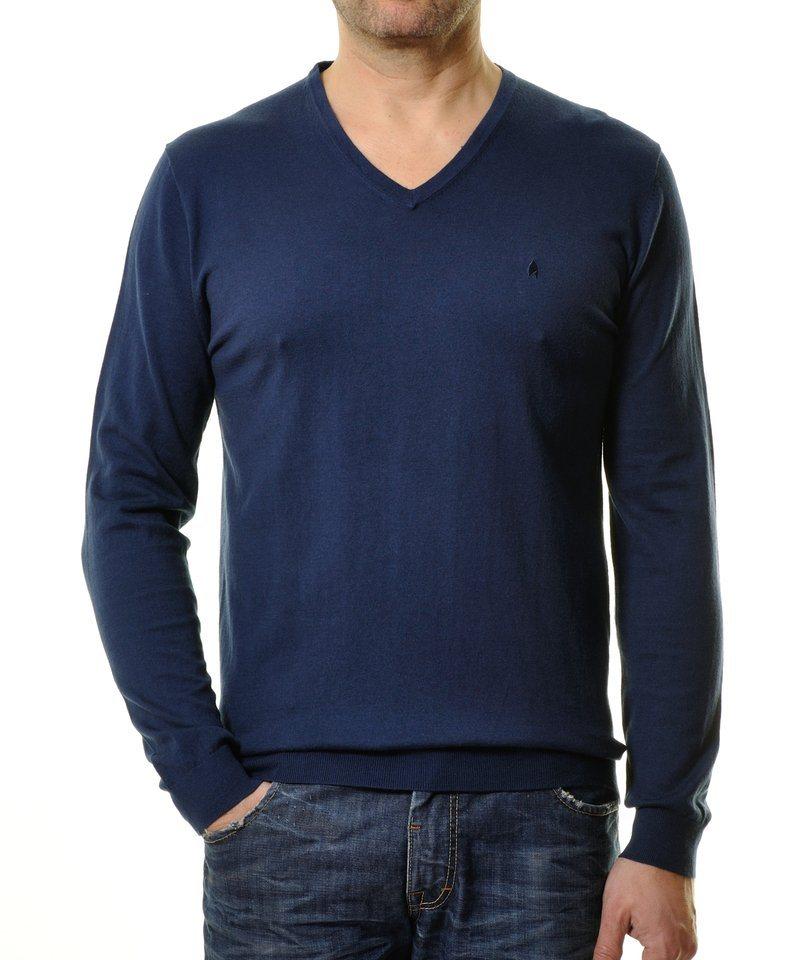 Ragman V-Ausschnitt-Pullover in dunkelblau