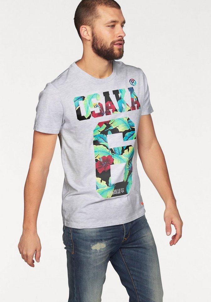 Superdry T-Shirt »OSAKA HIBISCUS TEE« in hellgrau-meliert