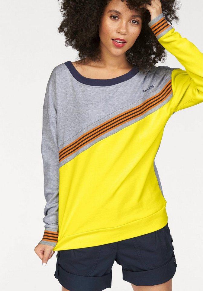 KangaROOS Sweatshirt mit sportlichem Ripp-Streifen in grau-meliert-gelb