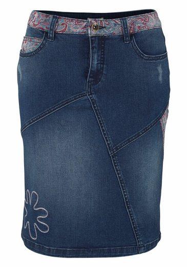 Boysen's Jeansrock Pencil Skirt, in Patchwork-Optik mit Stickerei