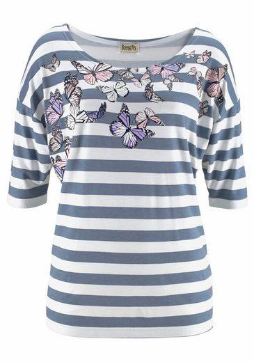Boysen's Print-Shirt, mit Streifen und überschnittenen Schultern