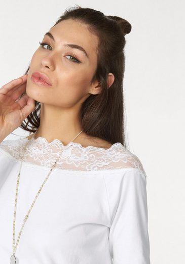 Cream Carmenshirt CHANET, mit Spitze