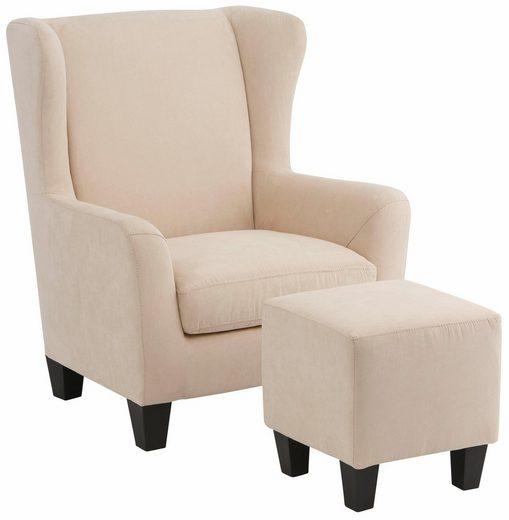 Home affaire Sessel »Chilly« (Set, 2-tlg., bestehend aus Sessel und Hocker), mit bequemer Federkern-Polsterung, in zwei unterschiedlichen Bezugsqualitäten, Sitzhöhe 44 cm