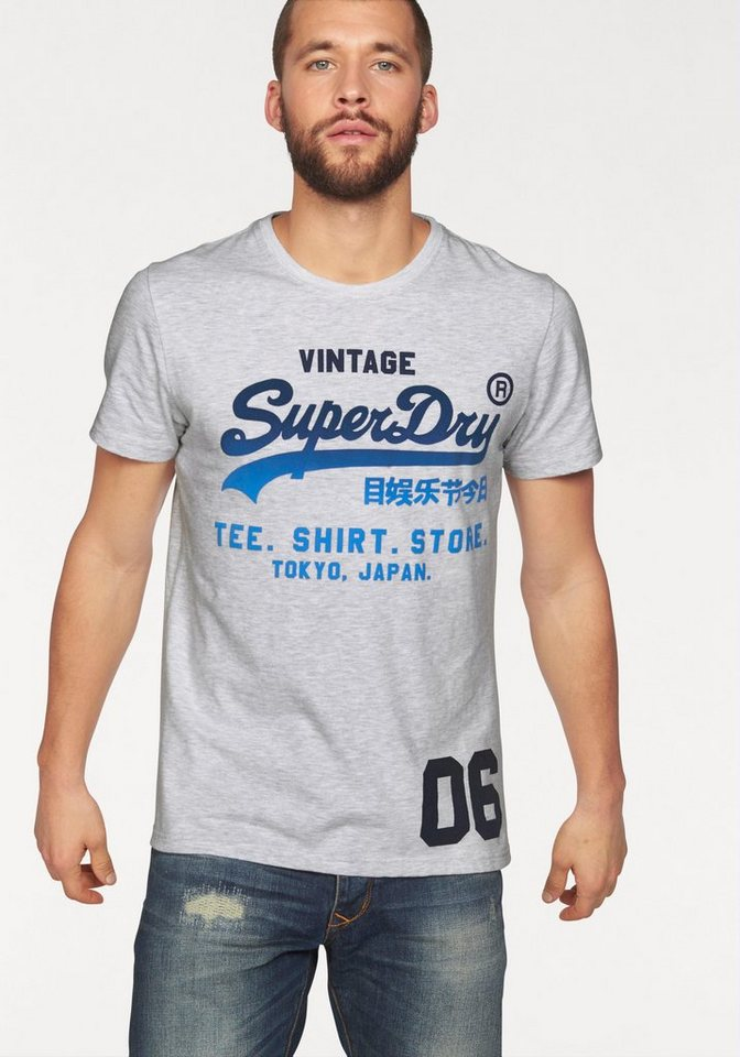 Superdry T-Shirt »SHIRT SHOP FADE TEE« in white