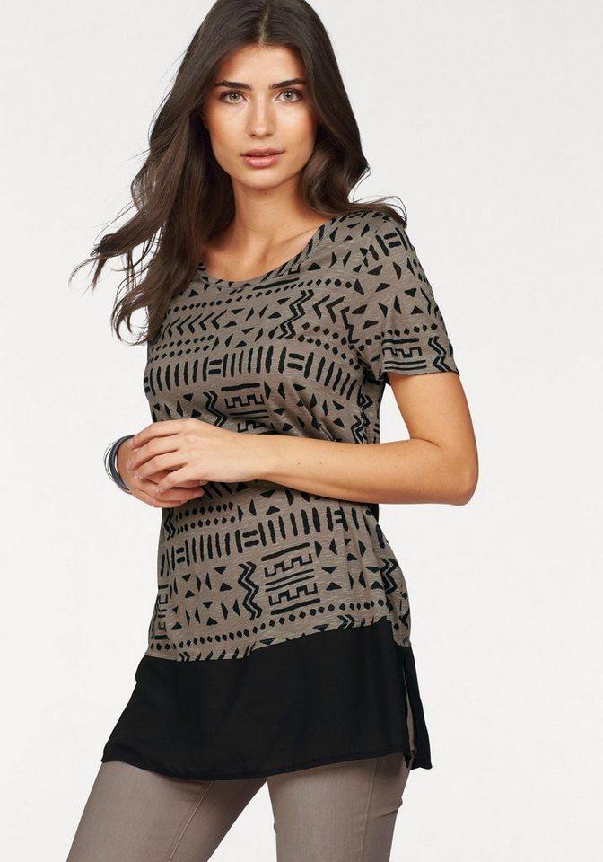 Boysen's Longshirt im Ethno-Look mit kontrastfarbigem Saum in taupe-schwarz