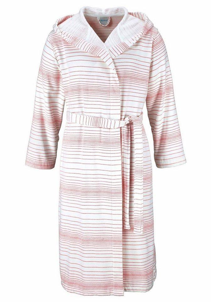 Unisex-Bademantel, my home Selection, »Zoe«, mit dezenten Streifen in weiß-rosé
