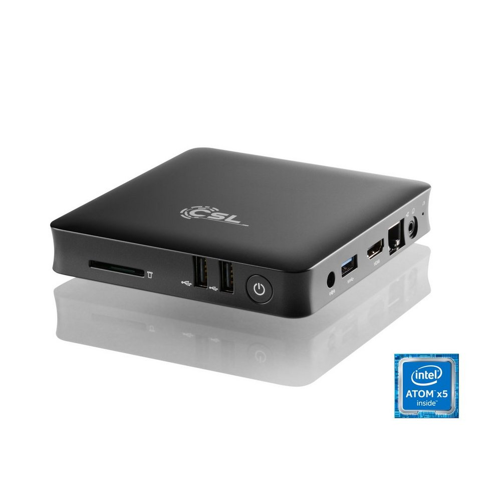 CSL Silent Mini PC - lautlos, Media, TV, Bluetooth »Narrow Box 4K, 4GB RAM, Win 10 Pro, USB 3.1« in schwarz