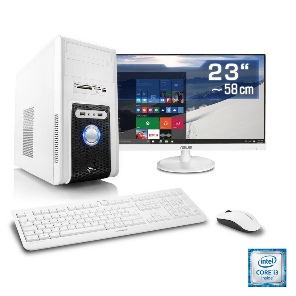 "CSL Multimedia PC Set | i3-6100 | Intel HD Grafik | 8 GB | 23"" TFT »Speed T5813 Windows 10 Home« in weiß"