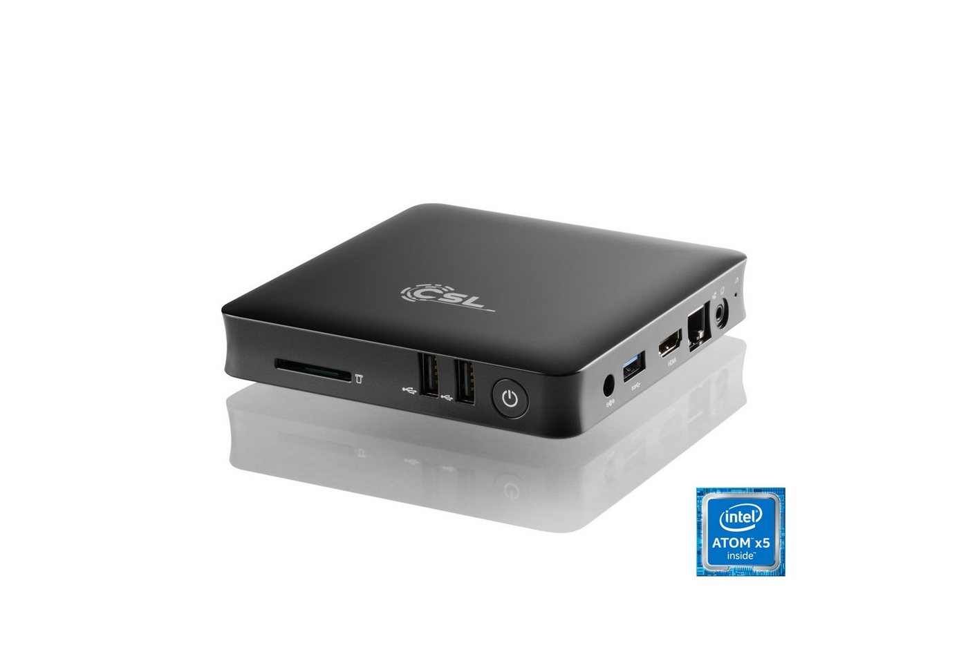 CSL Silent Mini PC - lautlos, TV, Bluetooth, WLAN »Narrow Box 4K, 4GB RAM, Windows 10, USB 3.1«