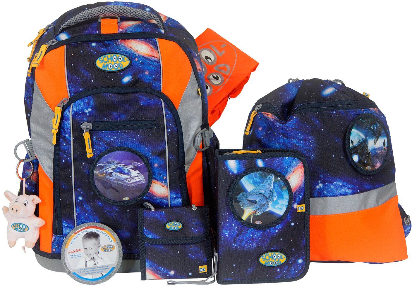 School-Mood Schulranzen Set, 7-tlg., »Loop Space Craft«