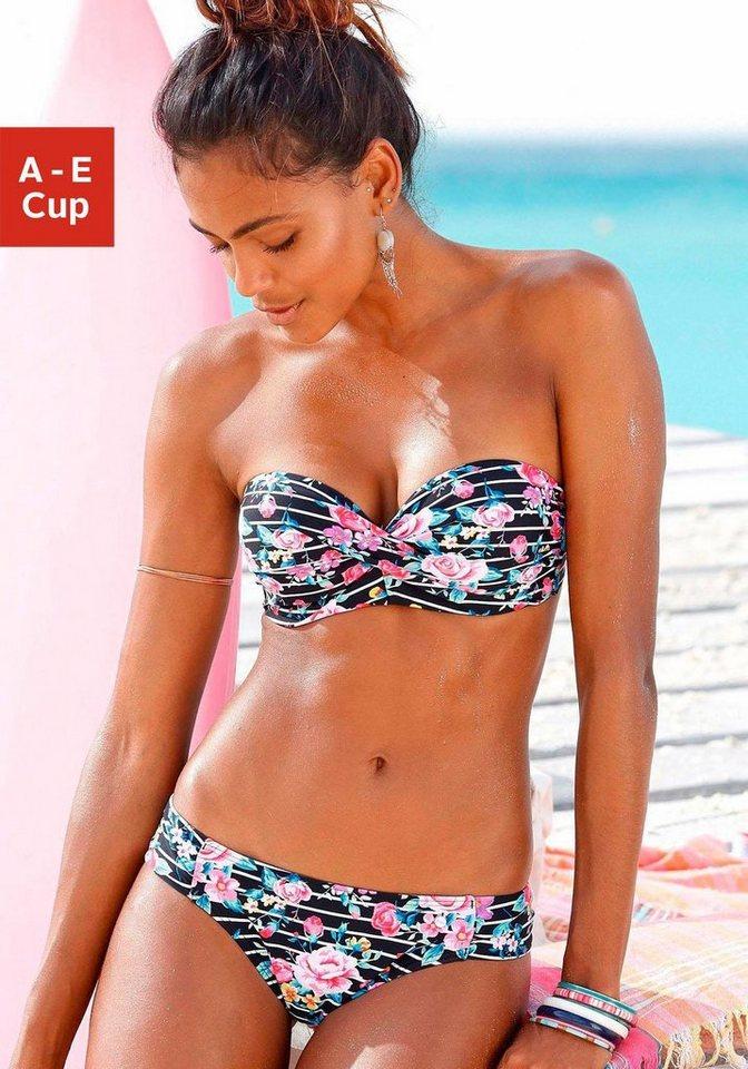Bademode - s.Oliver Beachwear Bügel Bandeau Bikini mit Blumenprint › schwarz  - Onlineshop OTTO