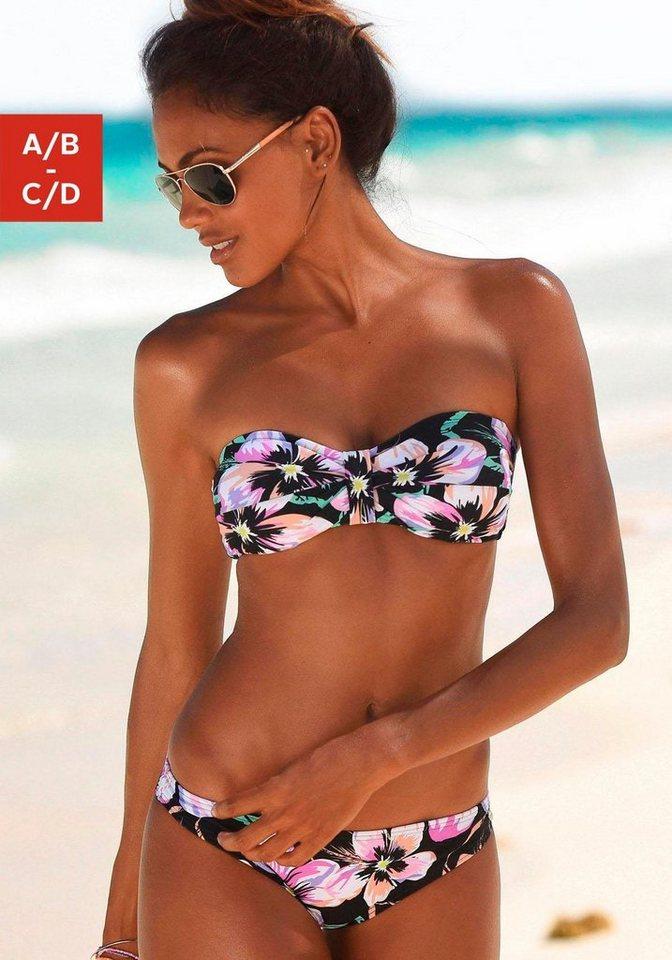 s.Oliver RED LABEL Beachwear Bandeau-Bikini in schwarz-bedruckt
