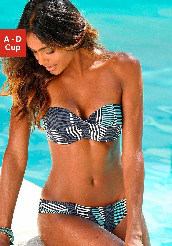 sunseeker Bügel-Bandeau-Bikini in schwarz-türkis