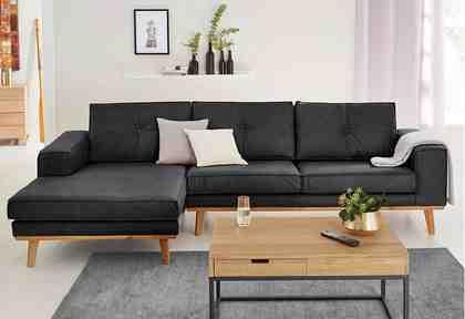 GMK Home & Living Polsterecke »Janis«, Leinen oder NaturLEDER mit Eichen-Füßen und Außennaht
