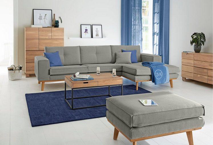 Guido Maria Kretschmer Home&Living Ecksofa »Janis«, Leinen oder NaturLEDER mit Eichen-Füßen und Außennaht