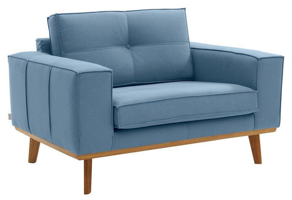 GMK Home & Living Sessel »Janis«, Leinen oder NaturLEDER mit Eichen ...