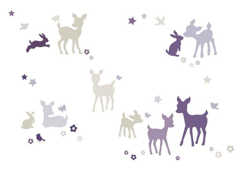 lovely label Wandsticker »Häschen & Rehe lila/grau/beige - Wandtattoo Kinderzimmer Baby«