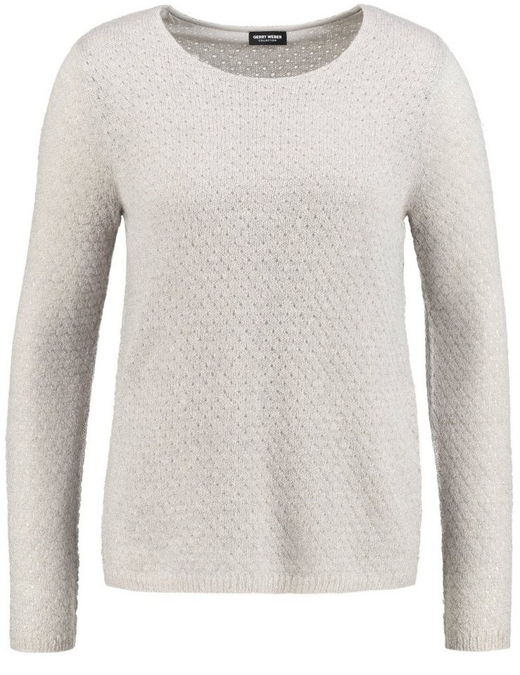 Gerry Weber Pullover Langarm Rundhals »Pullover mit Ajourmuster« in Marzipan