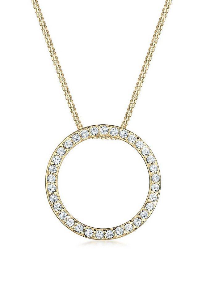 Elli Halskette »Kreis Swarovski® Kristalle 925 Sterling Silber« in Gold
