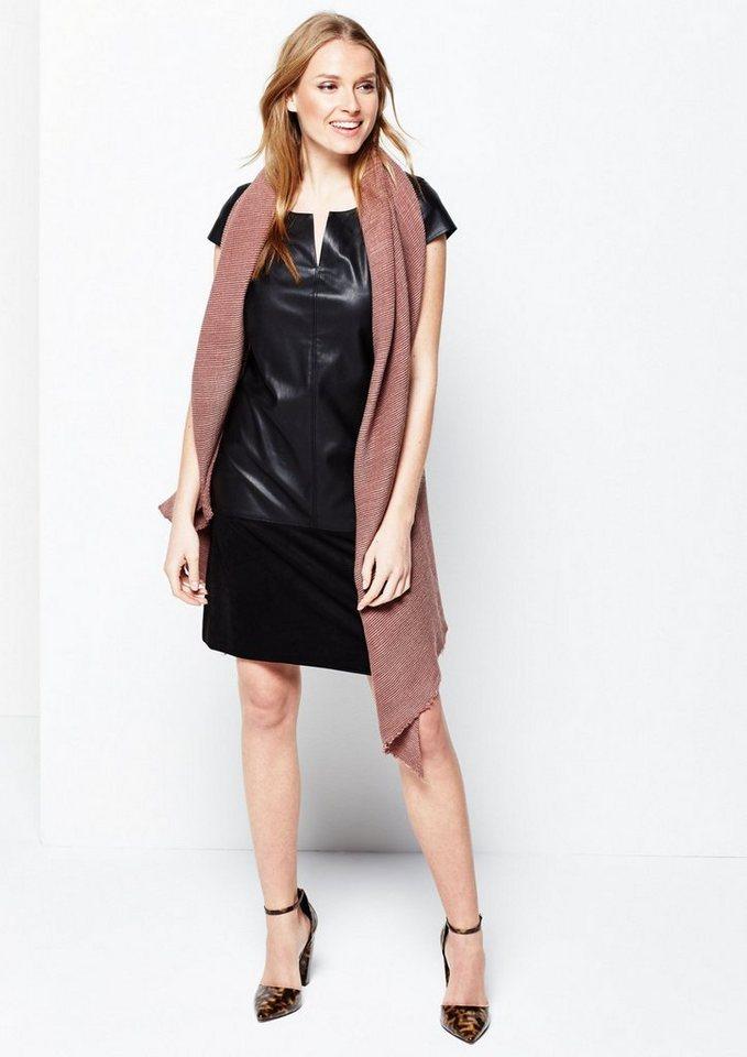 COMMA Extravagantes Businesskleid aus weichem Fake-Leder in black