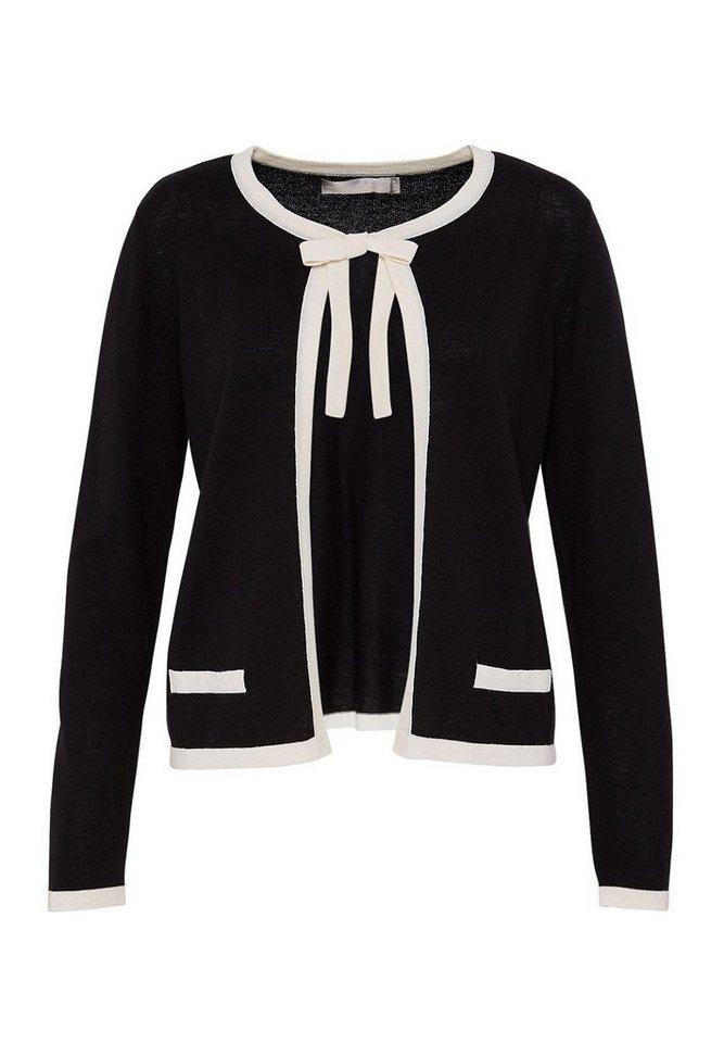 HALLHUBER Woll-Cardigan mit Kontrastblenden in schwarz